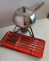 Stainless Steel Fondue Pot Vintage Mid Century Modern with 5 Forks in Box