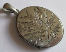 Design Bamboo Silver Locket Antique Victorian Aesthetic Bird Japanese