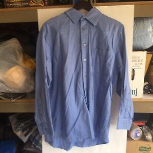 Calvin Klein Long Sleeve Dress Shirt - Size 17 - 32/33- Blue 100% Cotton