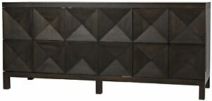 "76"" L Sirocco Sideboard Three Door Solid Wood Ebony Walnut Modern"