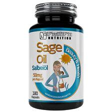 Salbeiöl 180 Kapseln je 50mg Schwitzen Hitze Sage Oil Fat2Fit Nutrition
