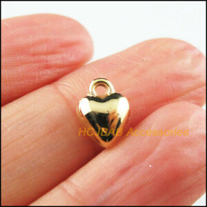 150 New Tiny Heart Charms Acrylic Smooth Pendants KC Gold Plated 8x10mm
