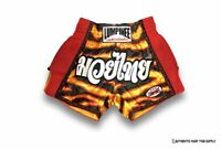NEW LUMPINEE K1 MMA MUAY THAI BOXING RETRO SHORTS BLACK ORANGE S M L XL XXL