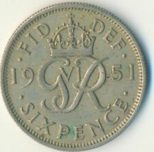 1951 SIXPENCE - KING GEORGE VI.  GREAT BRITAIN COIN COLLECTIBLE    #WT7080