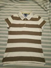 Polo T-Shirt top Collared white Blouse Tommy Hilfiger Womens Flag Logo Striped