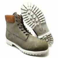 "Timberland Men's Size 14 Premium 6"" Inch Waterproof Boots Grey White Nubuck $198"