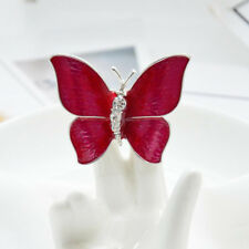 Elegant Insect Brooch Pin Gifts Fashion Rhinestone Rose Red Enamel Butterfly