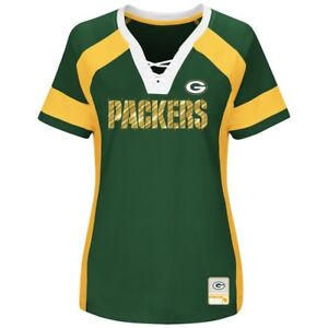 NWT Women's Majestic Green Bay Packers Draft Me Fashion Top Green Sz M