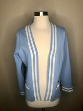 Pendleton women's Baby Blue White Open Front cardigan sweater Petite M MP Nwt