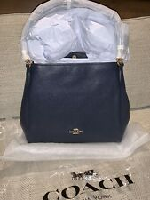 NWT Coach 80268 Pebble Leather Hallie Purse Bag Tote Navy Blue 100% AUTHENTIC