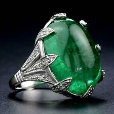 Cabochon Emerald Gemstone 48.30ct Art Deco Classic Vintage 925 Solid Silver Ring