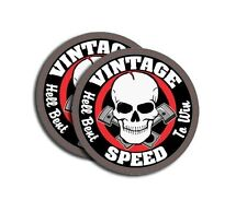 "Vintage Speed Skull ~ HELL BENT TO WIN ~ 4"" Round Decal Sticker ** 2 PACK ** 768"