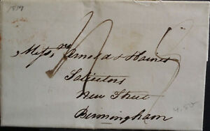 GB QV Pre Stamp 1837 Entire with Content to Solicitors Birmingham