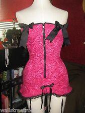 Naughty Lola leopard corset garter belt pinup stripper burlesque rockabilly VLV