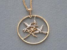 "Hummingbird Pendant & Necklace, Hummingbird Coin Hand Cut,  1-1/8"" ( # 550 )"