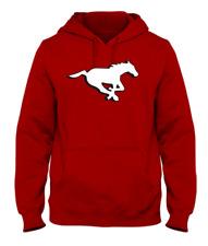 Men's Calgary Stampeders Red Primary Logo CFL Football Hooded Sweatshirt Pockets
