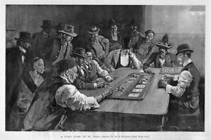 FRENCH GAMBLING CARD GAME FARO GAME AT EL PASO PILE OF CHIPS COUNTERS GAMBLE