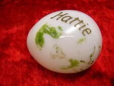 "Vintage Hand Blown Milk Glass Egg Hand Painted Hattie 2 3/4"" Long"
