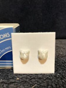 VTG 1981 Avon Child's Frosted Tulip Pierced Earrings W/ Surgical Steel Posts NIB