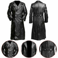 Men Trench Coat Long Jacket Retro Gothic steampunk Leather Medieval Vampire