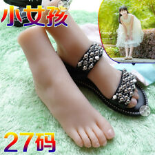 Full Silicone Female Foot Mannequin Kids  Foot Model Shoes Display US 11.5