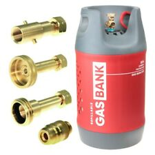 Refillable GasBank Large 11kg LPG Gas Cylinder - DIN In/Out + ALL EU Adapters