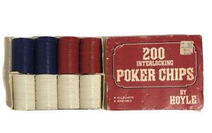 Vintage Set Of 200 Interlocking Poker Chips By Hoyle In Original Box 1977