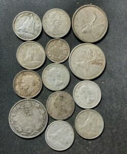 Old Canada Silver Coin Lot - 1919-1968 - 13 Silver Coins - Lot #L25