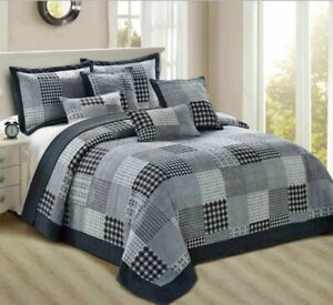 Patchwork Quilted Bedspread King Size Check Decor Bed Throw With Pillow Shams
