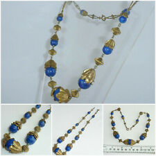 Art Deco Czech Neiger Brothers Necklace Lapis Lazuli decorative Gilt Metal links