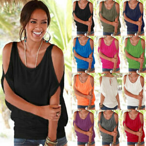 Plus Size Women Cold Shoulder Baggy Blouse T Shirt Top Ladies Casual Beach Tunic
