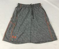 Under Armour MEN'S Athletic Shorts Loose Heat Gear Gray Orange 1291322 Size M