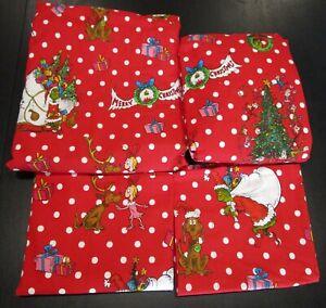 🎄 NEW Pottery Barn Teen GRINCH Festive Dot FULL Flannel Sheet Set CHRISTMAS 🎄