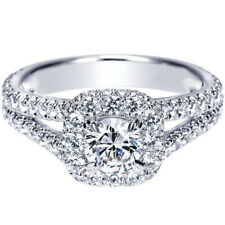 Rings 14K White Gold Size 5 6.5 1.42 Ct Round Excellent Cut Real Diamond Wedding