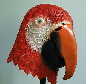 Rosso Pappagallo Maschera Copricapo IN Latex Animal Costume Halloween Uccello