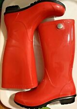 PRE-OWNED UGG SHAYE TANGO RED  RUBBER RAIN TALL BOOTS FUR INSOLE SIZE 8M