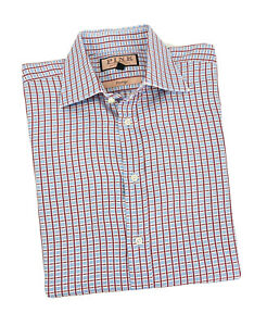 THOMAS PINK Long Sleeve Shirt Mens Size 15.5 - 34 Red & Blue Plaid French Cuff