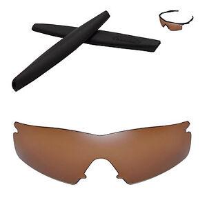 Walleva Polarized Brown Replacement+Black Earsocks for Oakley M Frame Strike