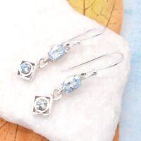 Blautopas blau eckig oval modern Design Ohrringe Ohrhänger 925 Sterling Silber