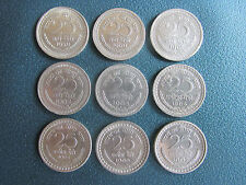 25 PAISE NICKEL COIN SET OF 9 DIFFERENT YEAR - 1959 TO 1967