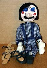 Vintage Antique Wood, Cloth, Papier-mache Hobo Marionette String Puppet
