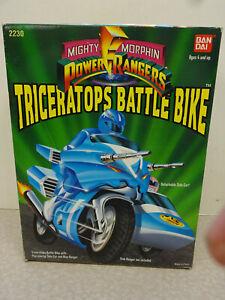 1993 Bandai Mighty Morphin Power Rangers Triceratops Battle Bike w/ Blue Ranger