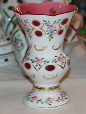 Vintage BOHEMIAN CZECH Cased Glass White Overlay Cut to Red Cranberry 8 in VASE