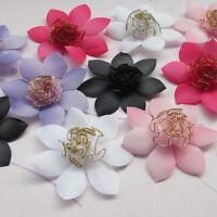 40PCS Mix Organza Ribbon Rose Flowers Bows Padded Felt Appliques Upick E240