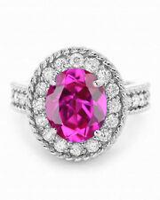 14KT White Gold 1.90 Carat Natural Pink Tourmaline EGL Certified Diamond Ring