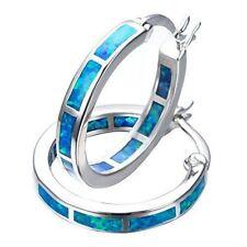 Classic Womens Fashion Wedding Silver Jewelry White Blue Fire Opal Hoop Earrings