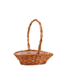 Small Golden Punt Wicker Basket with Handle x 26cm - Lined - Flower Plant Gift