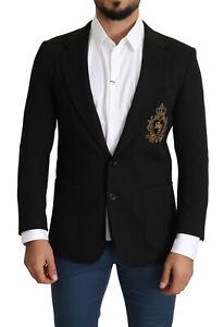 DOLCE & GABBANA Blazer Black Crest Logo Dinner Coat Two Button IT50/US40/L $2700
