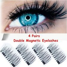 4Pairs Double Magnetic Eyelashes Handmade Reusable False Eye Lashes Extension UK