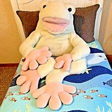 """52"""" JUMBO FAO SCHWARZ GIANT FROG PLUSH Stuffed Animal HUGE TOAD Vintage RARE"""